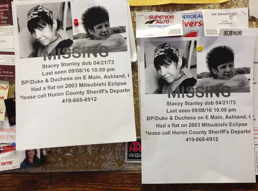 © (AP Photo/Ann Sanner). Missing person fliers for Stacey Stanley remain posted on a laundry mat bulletin board on Wednesday, Sept. 14, 2016, in Ashland, Ohio.