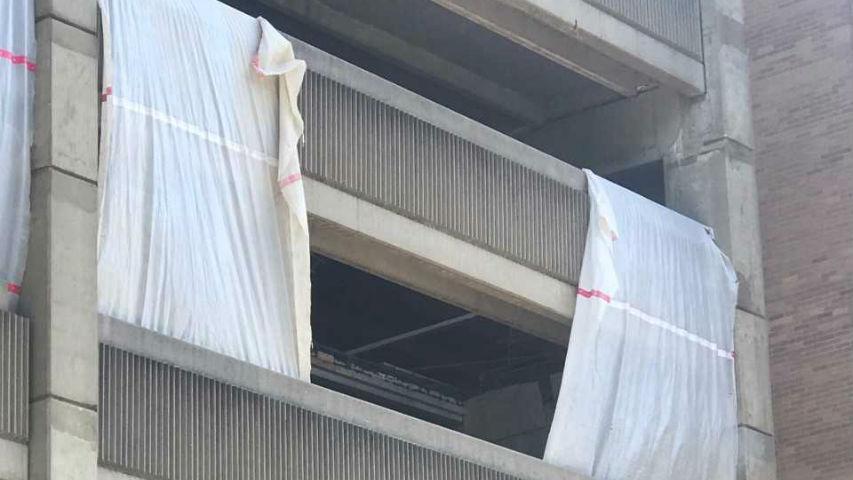 Part of hospital garage under construction collapses; 2 hurt