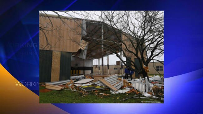 Rockport Middle School in Texas received heavy damage due to Harvey flooding