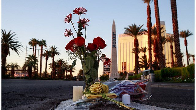 Flowers were left on Las Vegas Blvd. near the scene of Sunday night's mass shooting, October 3, 2017 in Las Vegas, Nevada. The gunman, identified as Stephen Paddock, 64, of Mesquite, Nevada,  (Photo by Drew Angerer/Getty Images)