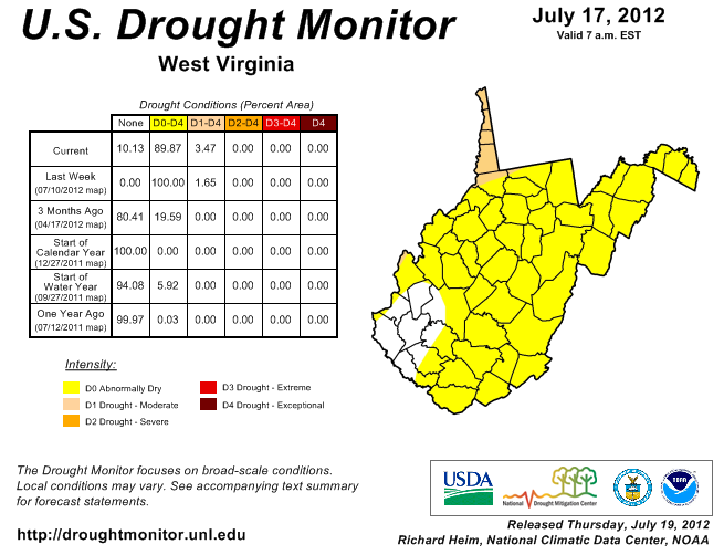 "The U.S. Drought Monitor map shows ""abnormally dry"" conditions in most of the state."