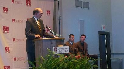 UC President Ed Welch announces the Beckley center this morning. Picture by Phillip Copney -- WVNS-TV