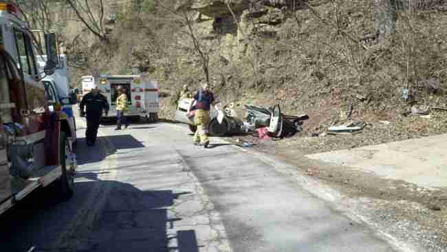 Photo by: Gary Mills - Rollover accident in Kanawha County - Big Tyler Road