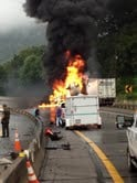 Truck catches fire after wrecking on I-77 near the Chelyan exit