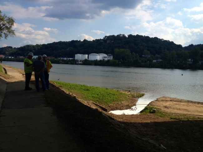 Latex spilling into the Kanawha River due to vandalism of a government truck.