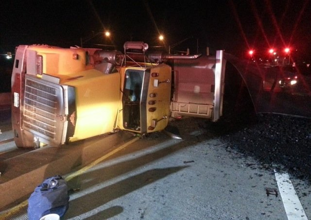 Coal truck flips in Logan County; photo is courtesy of first responders