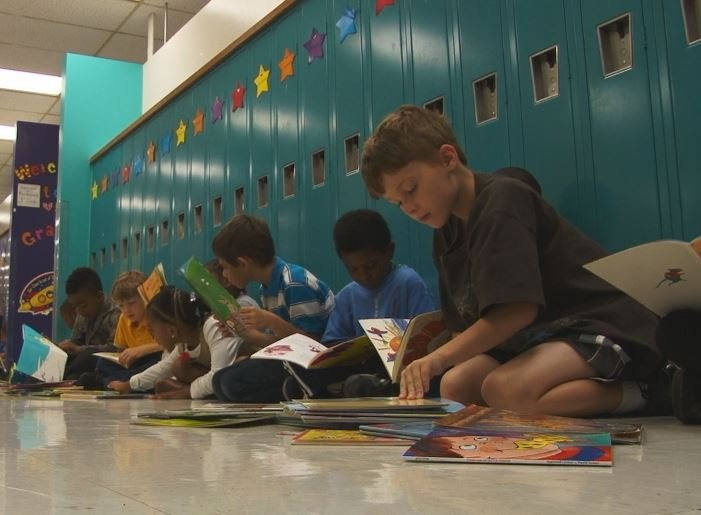 Students at Piedmont Elementary read during shelter-in-place drill
