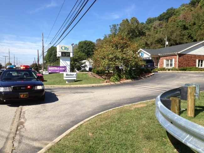 Lawrence County Sheriff's deputies on the scene of a bank robbery in Chesapeake, OH.