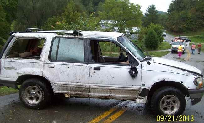 Kenneth R. Lash's Ford Explorer following the accident in River, KY.