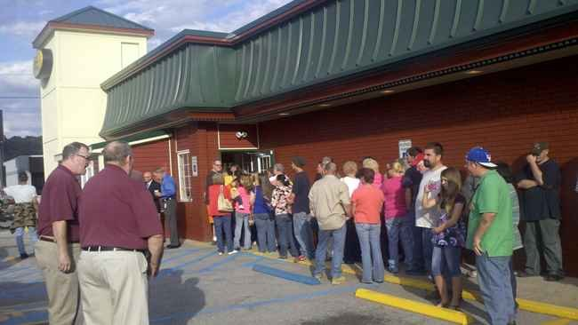People lined up in Ashland, KY to get a first look at the new Tudor's Biscuit World