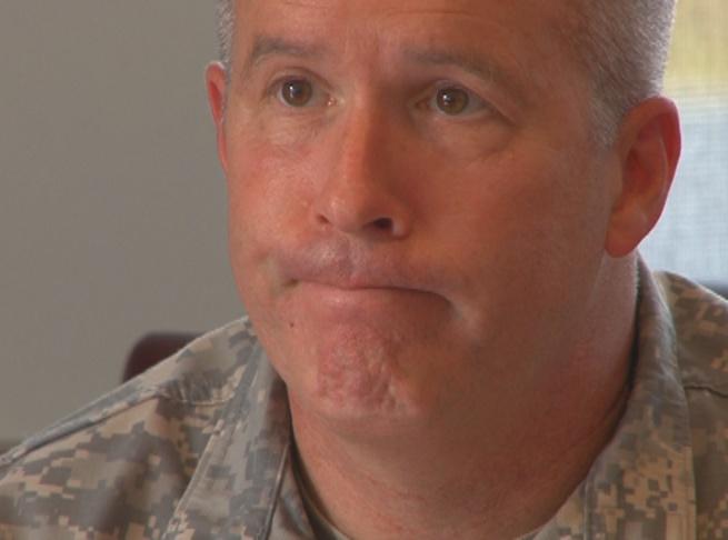 Major General James Hoyer, state adjutant general, at news conference Tuesday.