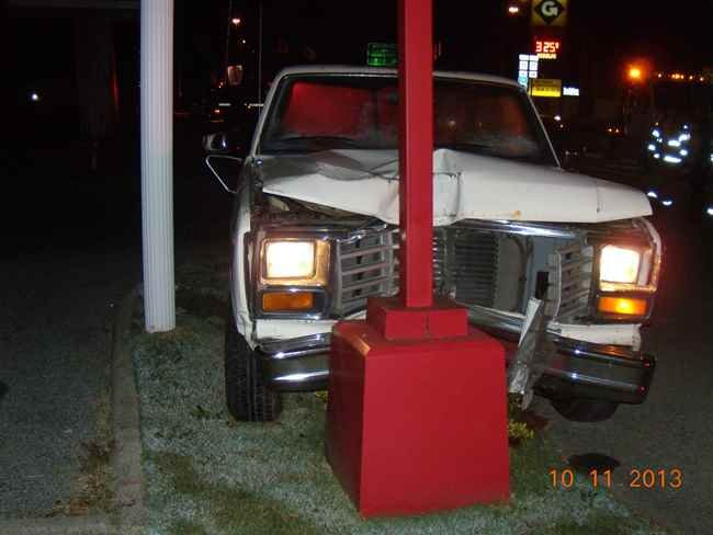 Stolen truck after a wreck on 10th Street in Dunbar, WV.