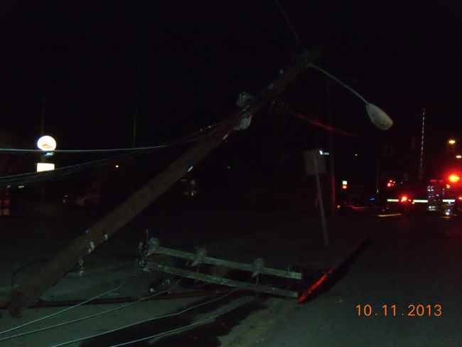Power pole damaged by an early morning wreck in Dunbar, WV.