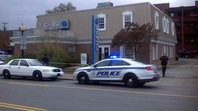 Charleston police on the scene of a bank robbery.