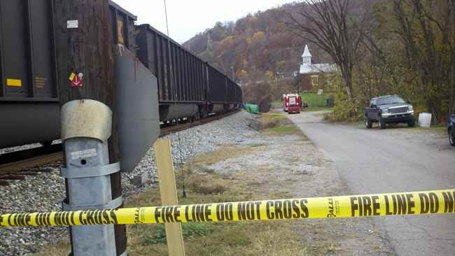 Emergency crews on the scene of a pedestrian struck and killed by a train in Marmet, WV.