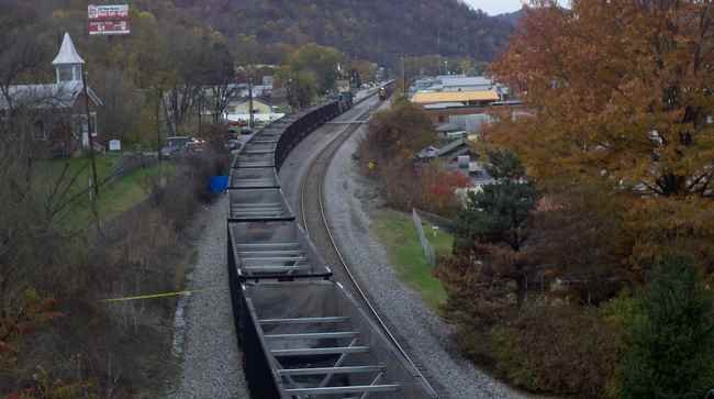 Train stopped in Marmet, WV after a fatal accident.