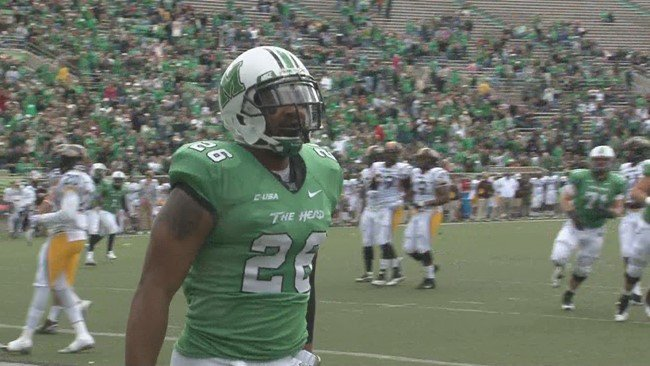 Marshall's Gator Hoskins after catching a touchdown pass in a 61-13 victory over Southern Miss