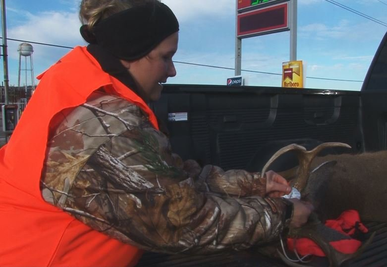 April Strickland caught her biggest 8-pointer buck on the first day.