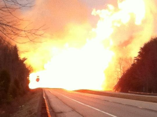 A natural gas pipeline explosion in Dec. 2012 scorched part of Interstate 77.
