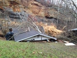 Rock slide in Ceredo, WV damages one home