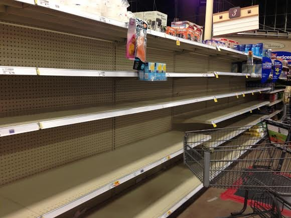 Empty shelves at Kroger.