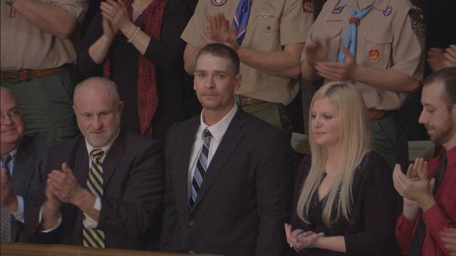 Joshua Morrison being honored at the State of the State address