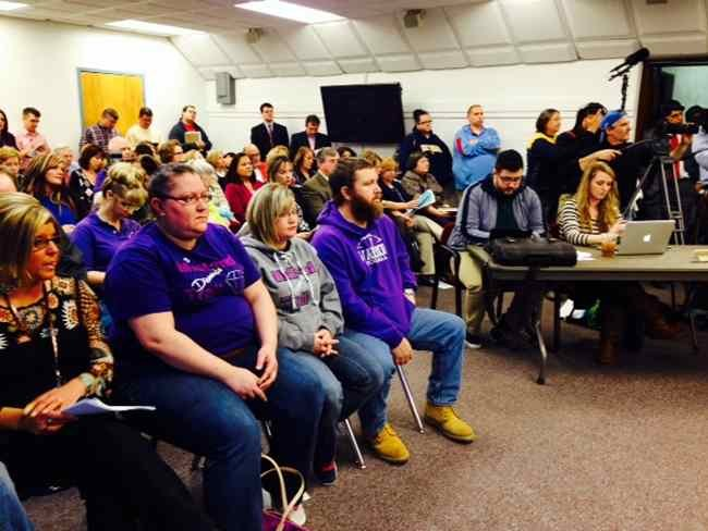 Parents at the Kanawha County School Board education meeting.  Photo Courtesy:  Elbert Mosley, 13 News Photojournalist