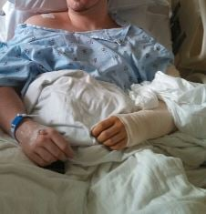 Daulton Tyler went to Ruby Memorial Hospital after he was stabbed in the arm.