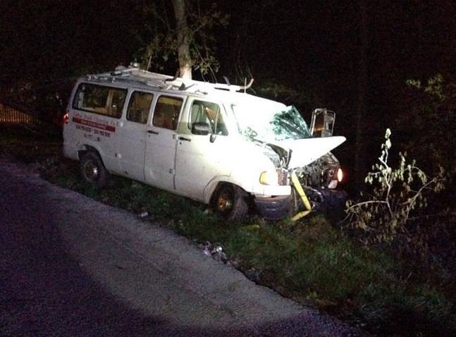 Deputies said the driver of this van was drunk when he crashed into a telephone pole.