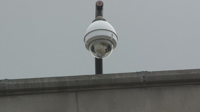 Surveillance camera on the East End of Charleston