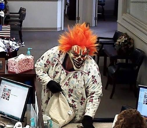 "Man dressed as ""clown"" robs a bank in Baker, WV"