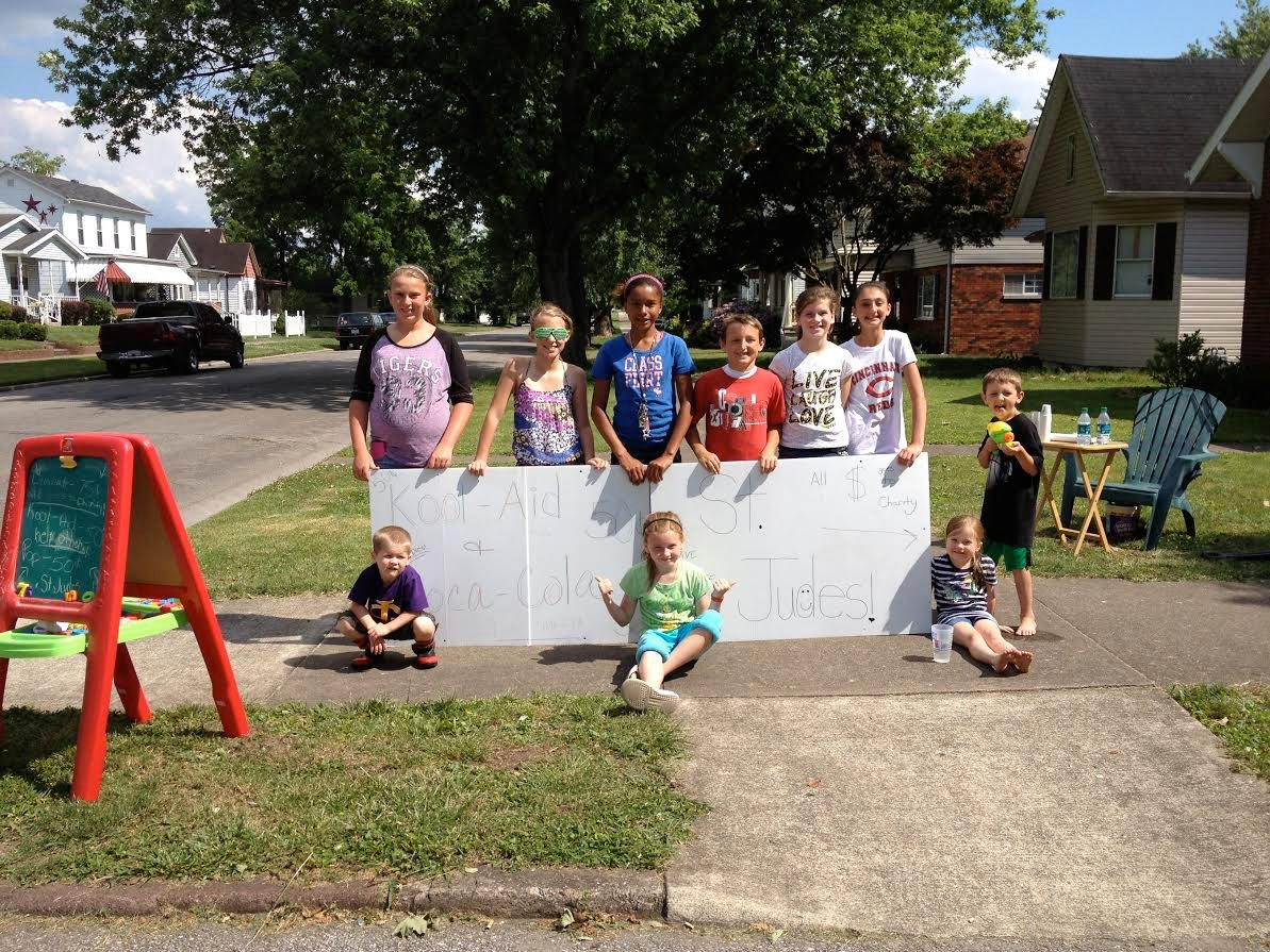Kids raising money with lemonade stand Summer 2012