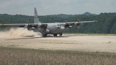 Plane landing on brand new Logan County airstrip.