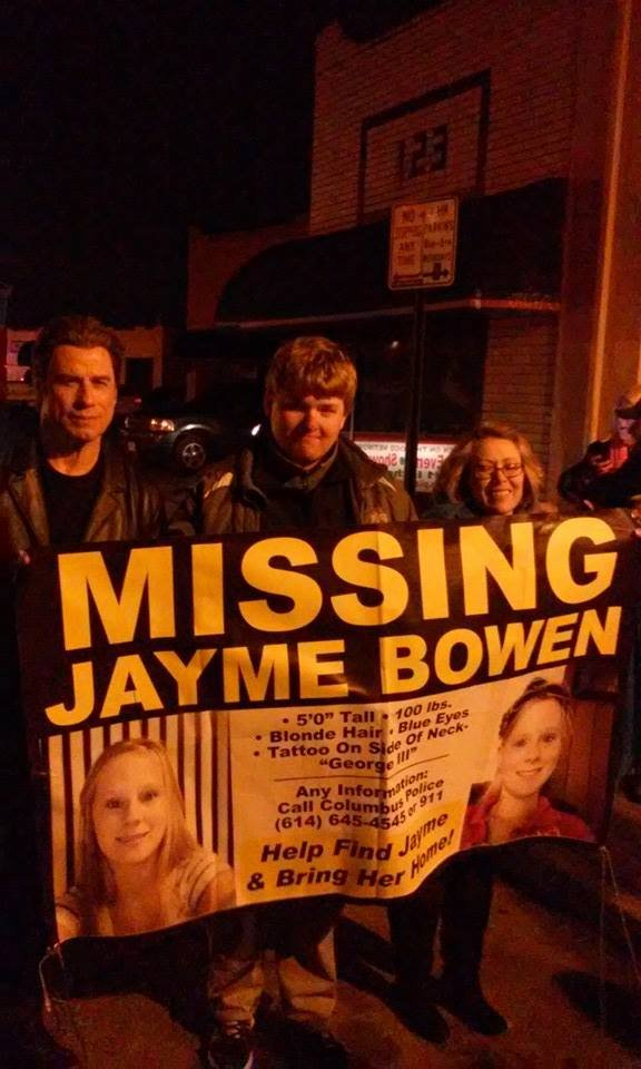 John Travolta (left) has offered his help in finding Jayme Bowen, a missing Columbus woman.