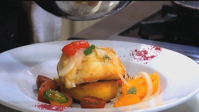Seared Chilean Sea Bass over Polenta Cake with a Siciliano Tomato Salad