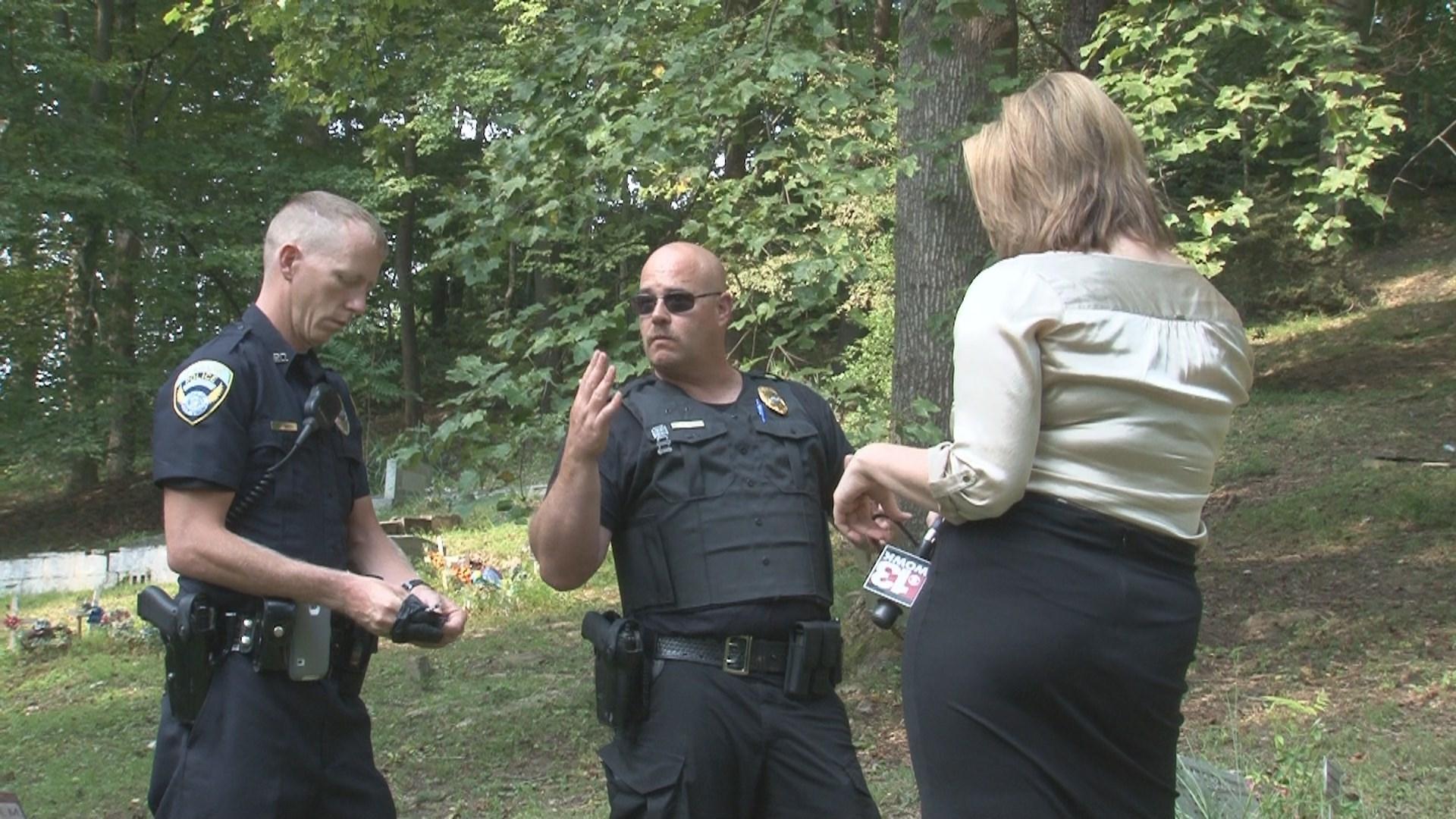 Officers find discarded drug paraphanalia in a Cedar Grove cemetery.